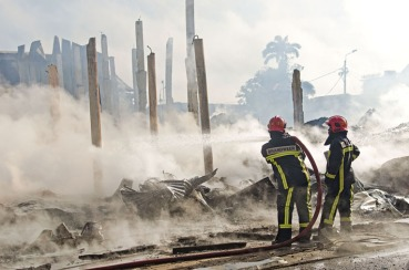 A fire destroys the historic inner city of Paramaribo, Suriname