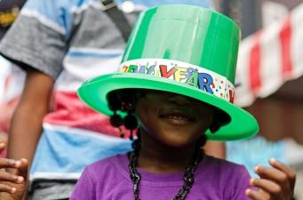 Girl enjoying the New Year's celebrations in Paramaribo, Suriname