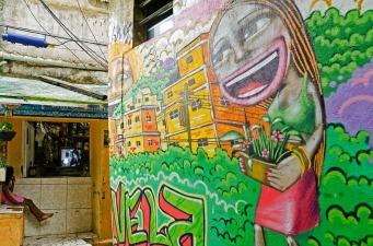 Girl watching television in a favela in Rio de Janeiro