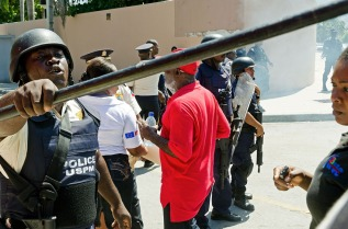 Haitian riot police during a manifestation